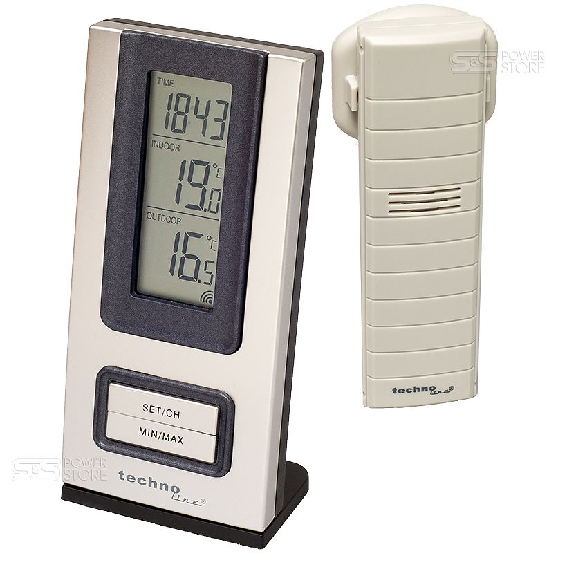 technoline funk wetterstation thermometer uhr innen au en temperatur ws 9117 it ebay. Black Bedroom Furniture Sets. Home Design Ideas